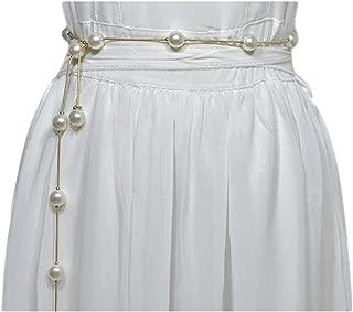 Women's metal chain rhinestone inlaid waist chain decorative thin belt waist rope (Color : A, Size : 115cm)