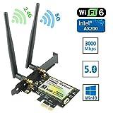 Ziyituod Tarjeta WiFi Gigabit, Tarjeta WiFi PCIe Bluetooth5.0 CA, Tarjeta Adaptador Wiif para computadora de Escritorio y Videojuegos, para Intel AX200 Wi-Fi 6-2974 Mbps + Bluetooth 5.0