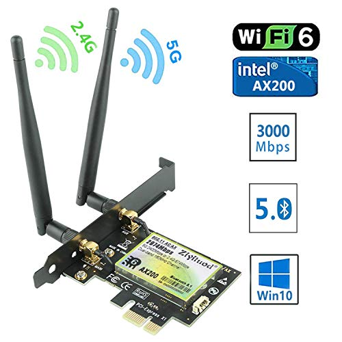 Ziyituod PCIe WiFi 6 AX200 con Bluetooth5.0, Scheda di Rete Wireless 2974 Mbps (5G 2400Mbps / 2,4 G 574Mbps), Scheda WiFi PCI Express 5ghz per Desktop PC, Windows 10 64 Bit, Linux 5.1+