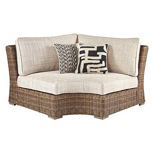 Signature Design by Ashley - Beachcroft Outdoor Corner Chair with Cushions - All-weather Wicker Frame - Beige