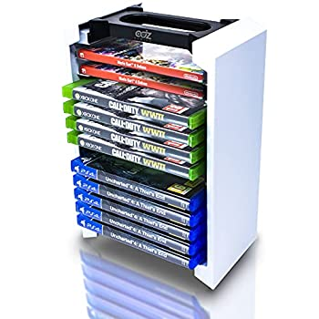 Game Storage Tower – Universal Video Game Storage – Stores 12 Game or Blu-Ray Disks – Game Holder Rack for PS4 PS5 Xbox One Xbox Series X/S Nintendo Switch Games and Blu-Ray Discs