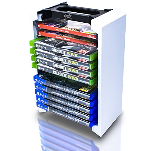 Game Storage Tower – Universal Video Game Storage – Stores 12 Game or Blu-Ray Disks – Game Holder Rack for PS4, PS5, Xbox One, Xbox Series X/S, Nintendo Switch Games and Blu-Ray Discs