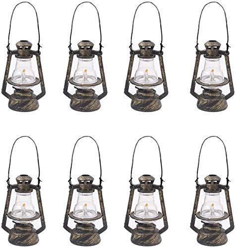 LIHAO 8 PCS Plastik kleine Öllampe Miniatur Vintage Puppenhaus Laterne Mini Laterne Weihnachtsanhänger baumschmuck Anhänger für Weihnachtsbaum DIY hängende Dekoration personalisiert Geschenk