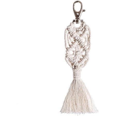 VOSAREA Makramee Schlüsselanhänger Boho Gewebte Schlüsselring Kreative Hängende Schlüssel Dekoration Tasche Anhänger Geldbörse Charme Kleines Geschenk für Handtasche (Weiß)