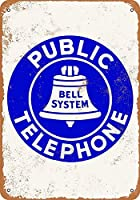 Bell System Public Telephone 金属板ブリキ看板警告サイン注意サイン表示パネル情報サイン金属安全サイン