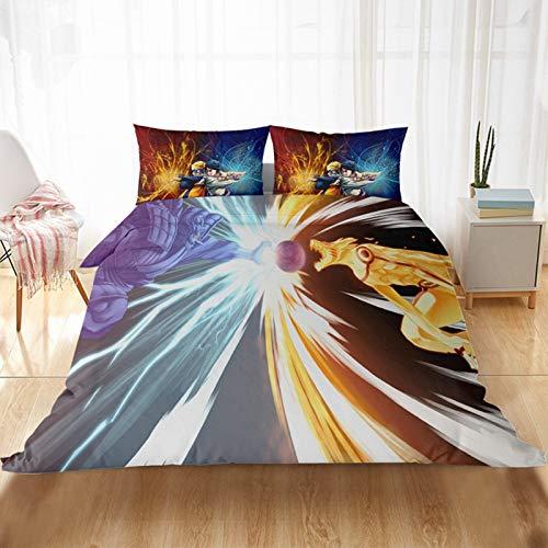 KHDFID Naruto - Juego de cama con funda nórdica y fundas de almohada en 3D, 135 x 200 cm