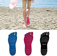 FSCOOL Stick on Shoes, Adhesive Foot Pads Invisible Barefoot Shoes, Waterproof Feet Soles Protection Sticker for Walking, Beach and Water Sports (Blue, S Size)