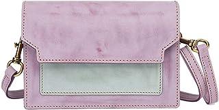 Khouses Women's fashion leather shoulder bag contrast color Messenger bag casual small square bag (Color : Purple, Size : 19 * 11 * 7cm)