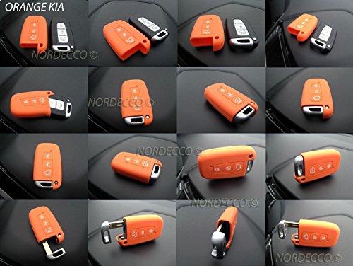 Coque de protection en silicone de haute qualité pour clé intelligente sans clé 3 boutons pour 2014 2015 2016 2017 Kia Sportage Sorento Picanto Venga Carens Opitma Rio Soul (orange)