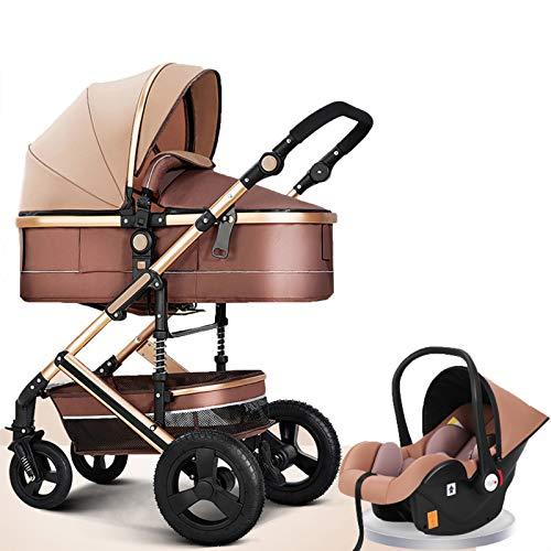 HHGO 3 En 1 Cochecito De Bebé Cochecitos De Bebé De Alto Paisaje, Carro Recién Nacido A Prueba De Golpes Plegables, Asiento Grande con Función De Mentira para Bebés Niños Pequeños Cochecitos
