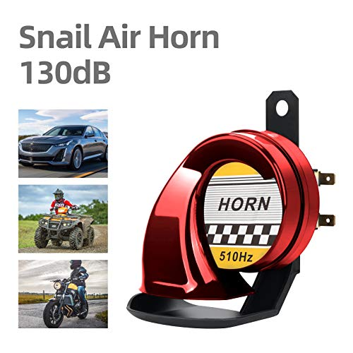 Waterproof 130DB Snail Air Horn Universal 12V High Tone 510HZ Electric Horn for Motorcycle Auto Car Siren Scooter(Red)