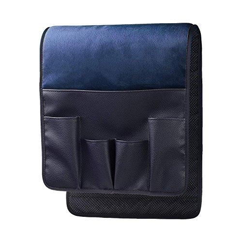 HKS - Bracciolo da divano, in morbido silicone vellutato antiscivolo, per telecomando, cellulare, libri, riviste e matite, Blu, 34 x 13 inches