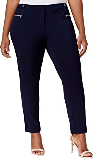 Calvin Klein Solid Scuba Crepe Dress Pants with Zippered Pockets 8, Twilight
