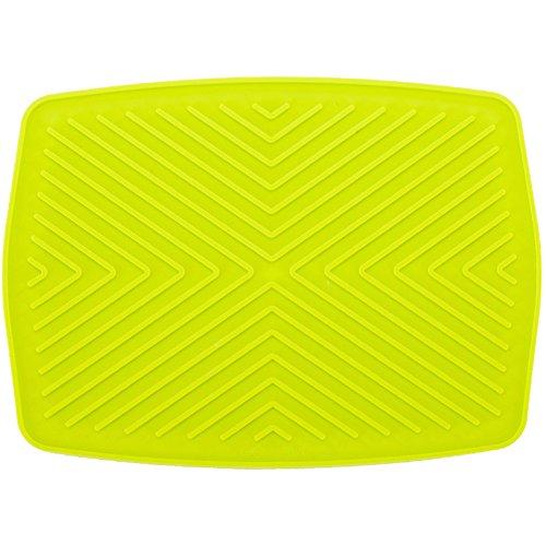Tapis d'égouttoir en silicone pour plan de travail, tapis d'égouttoir de cuisine, tapis de séchage pour évier, accessoire d'isolation thermique, antidérapant, rectangulaire, épais, 30 x 22 cm (vert)