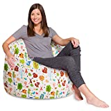 Posh Beanbags Big Comfy Bean Bag Posh Large Beanbag Chairs with Removable Cover for Kids, Teens and Adults Polyester Cloth Puff Sack Lounger Furniture for All Ages, 35in, Green and White