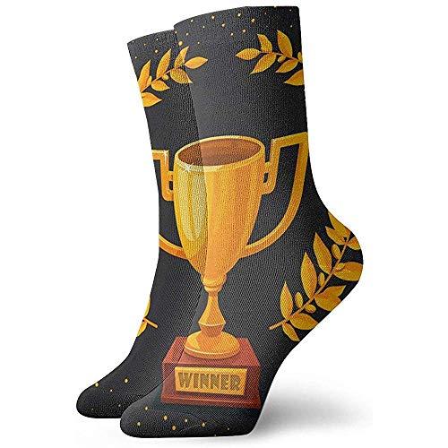 sam-shop Neuheit lustige verrückte Socke goldene Trophäe Cup auf dunklen gedruckten Sport Athletic Socken 30cm