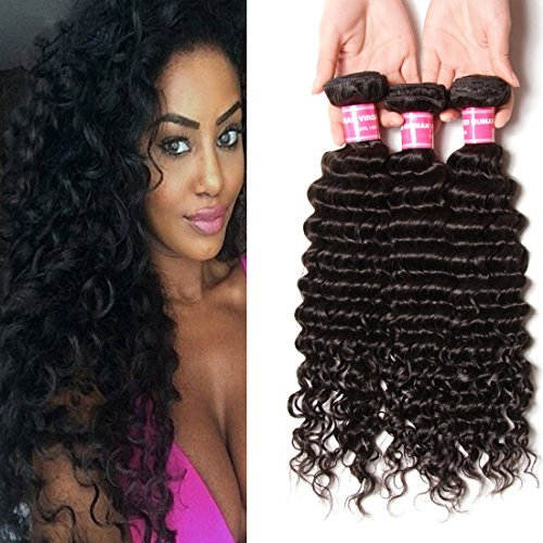 16 18 50,8 cm brésiliens vierges Deep Extensions cheveux bouclés tissage 3 lots tissage 100% cheveux humains naturels non traités brésiliens Transparent – Lot de 3
