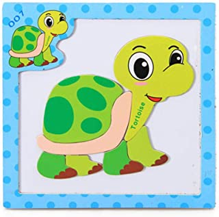 Wenjuan Wooden Puzzle Spelling Music Three-Dimensional Magnetic Puzzle Game Cartoon Animal Cognition Learning Educational Developmental Toy Gift Kids Baby (B)