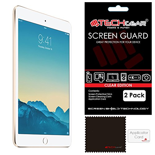 TECHGEAR [Pack of 2] Screen Protectors for iPad Mini 3 / Mini 2 / Mini - Clear Screen Protector Guard Covers Compatible with Apple iPad Mini 1st, 2nd & 3rd Generation - with Cloth & Application Card