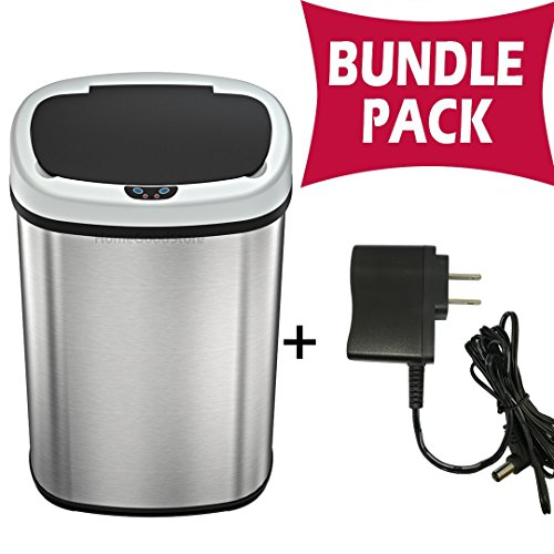 SensorCan 13 Gallon Automatic Touchless Sensor Trash Can with AC Adapter - Battery Free - Stainless...