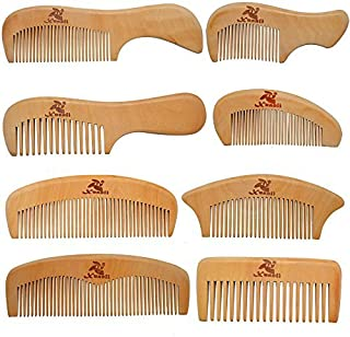 Xuanli 8 Pcs The Family Of Hair Comb set - Wood with Anti-Static & No Snag Handmade Brush for Beard, Head Hair, Mustache With Gift Box (S021) [並行輸入品]