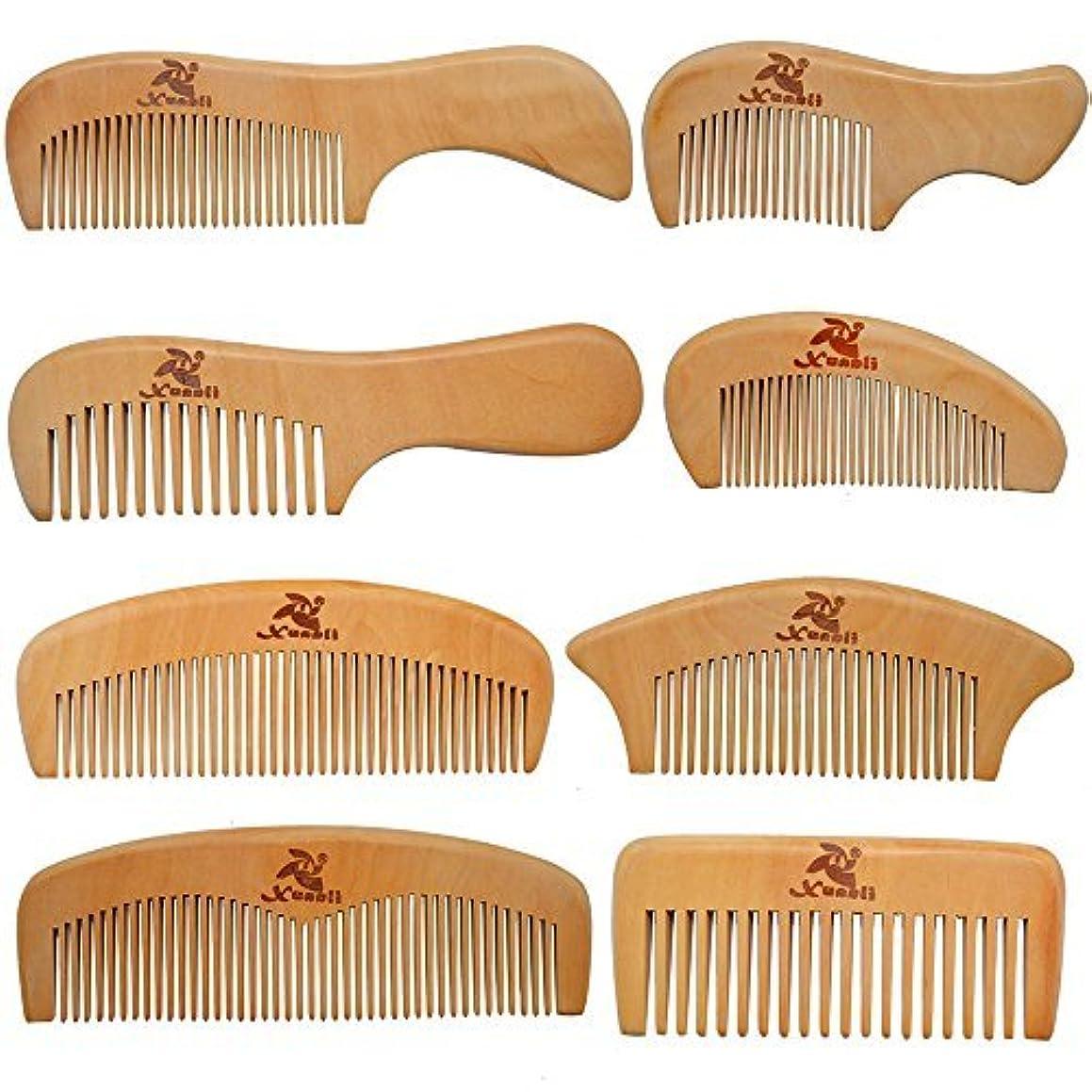 それらペダル過度のXuanli 8 Pcs The Family Of Hair Comb set - Wood with Anti-Static & No Snag Handmade Brush for Beard, Head Hair, Mustache With Gift Box (S021) [並行輸入品]