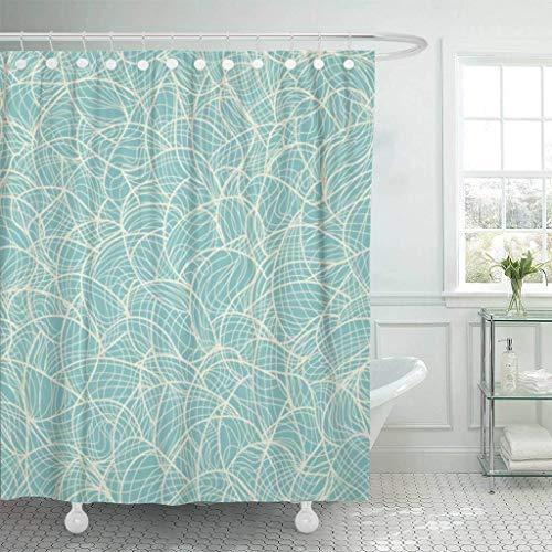 XZLWW Douche gordijn haak blauw winter patroon koele bloemen sjaal water abstract mooie schoonheid decoratieve badkamer