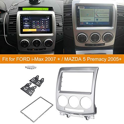 NBVNBV Für Ford i-Max 2007 + / Mazda 5 Premacy 2005+, 2 Din Autoradio Radioblende RadioRahmen/Auto Radio Fascia/Rahmen Stereo Platte Trim kit Panel Dash CD DVD