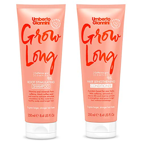 Umberto Giannini Grow Long Shampoo & Conditioner Duo, Vegan & Cruelty Free Root Stimulating Shampoo & Hair Lengthening Conditioner Bundle, 2 Pack