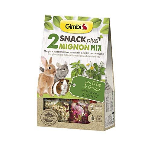 Gimbi Snack Plus Snack Grain Free Snack para conejos para roedores 50 g (Mix2 Herbe&Ortica Cubetti)