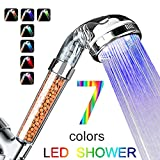 High Pressure TRTIUAV Colorful LED Shower head with Negative ion Filter Seven Color Random Transformations Handheld Spa Shower Nozzle, Prevention of dry skin and hair
