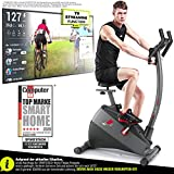"Sportstech ESX500 Ergometer - Deutsche Qualitätsmarke - Video Events & Multiplayer APP + 5,5"" Display, 12KG Schwungmasse, Pulsgurt kompatibel – Fitness-Bike Heimtrainer mit flüsterleisem Riemenantrieb"