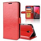 LAGUI Funda Adecuado para Vodafone Smart N9 Lite, Carcasa Madura y estable Tipo Libro con ranuras para tarjetas de soporte horizontal y solapa con cierre magnético, Rojo