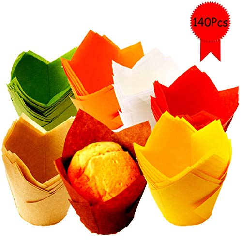 MotBach 140 Pieces Tulip Baking Paper Cups, Cupcake Muffin Liners Wrappers Rustic Cupcake Parchment Paper for Party,Birthday and Wedding(White, Coffee, Orange, Yellow, Green, Red, Brown)