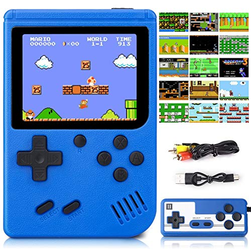 Handheld Game Console, Retro Game Console with 500 FC Games, 3 inch HD LCD Screen Retro Mini Game Player Support for Connecting TV & Two Players 1020mAh Rechargeable Battery Present for Kids and Adult