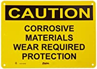 """Master Lock S5501 14"""" Width x 10"""" Height Polypropylene, Black on Yellow Safety Sign, Header """"Caution"""", Legend """"Corrosive Materials Wear Required Protection"""""""