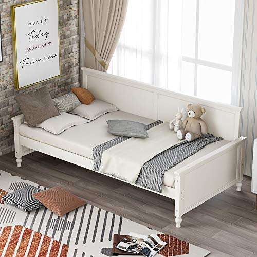 Polibi Twin Size Wood Daybed with Wood Slat Support and Bulb-Shaped Feet Design, No Spring Box Required Twin Daybed Sofa Bed Frame for Bedroom, Guest Room, Living Room(White)