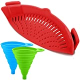 Silicone Snap Strainer with 2 Collapsible Funnels, FineGood Hands-free Clip-on Heat Resistant Colander Pour Spout for Pasta Vegetable Noodles Pot bowl Pan - Red