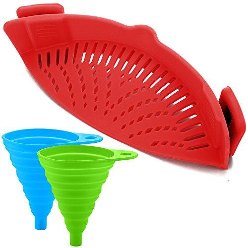 Silikon-Snap-Sieb mit 2 Zusammenklappbaren Trichtern, FineGood Hands-Free Clip-on Hitzebeständiger Colander Pour-Auslauf für Pasta Gemüse-Nudeln Topfschale Pan - Rot