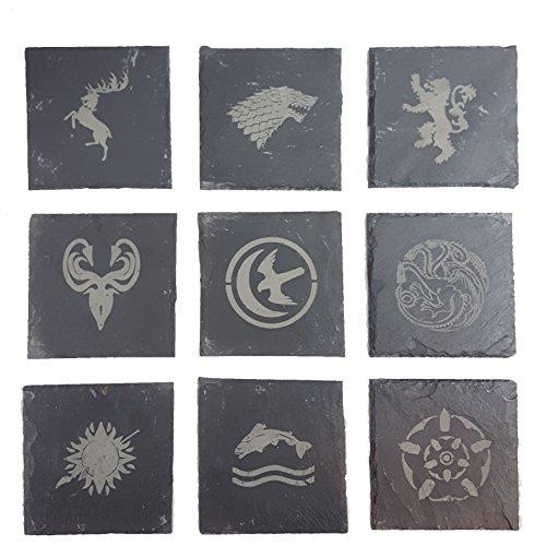 Derwent Laser Craft Game of Thrones inspirierte Haussiegel – Schiefer-Untersetzer – 9 Stück