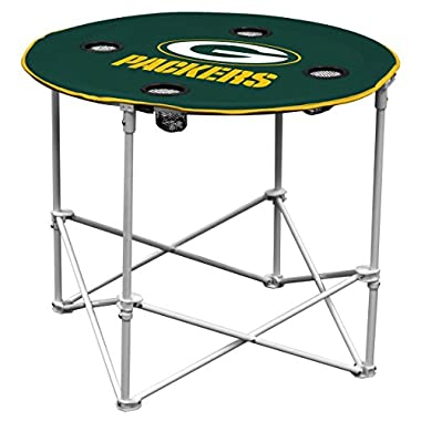 Logo Brands Green Bay Packers Collapsible Round Table with 4 Cup Holders and Carry Bag