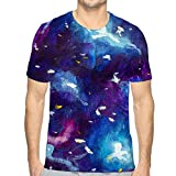 Mens Short Sleeve Tee Quick-Dry Crewneck Athletic T-Shirts Oil Painting Canvas Blue Violet Cosmos Universe Star Galaxies Modern Art Hand Drawn Art Oil Canvas Blue