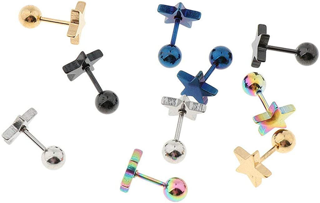 UkrGoods 10pcs Labrets Jewelry Star Lip Ear Bone Bar Stud Body Piercing Tongue Ring - Size: 9x2mm