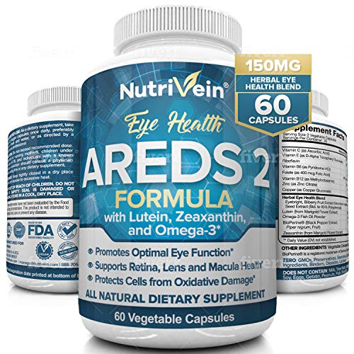 Nutrivein AREDS 2 Eye Vitamins - Supports Eye Strain, Dry Eyes - Award Winning Lutein and Zeaxanthin Plus Bilberry Extract - All-Natural Eye Health Booster Supplement for Adults, Kids, Men and Women