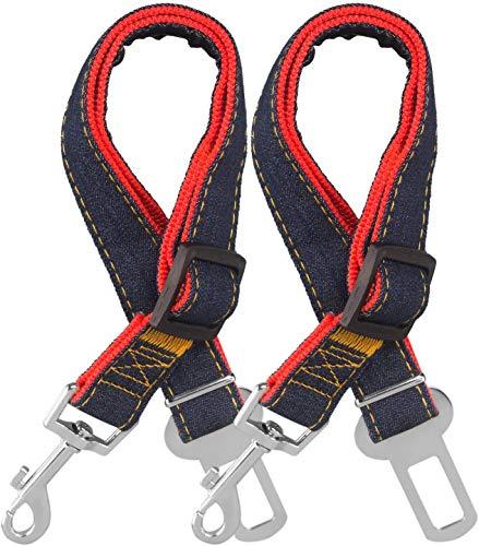 STARUBY Hunde-Sicherheitsgurt, 2er-Pack, verstellbares Hundegeschirr, Sicherheitsleine, Katzen-Autoleine, Reiseleine, 43-66 cm Länge, verstellbar Sicherheitsgurt für Hunde, Rot