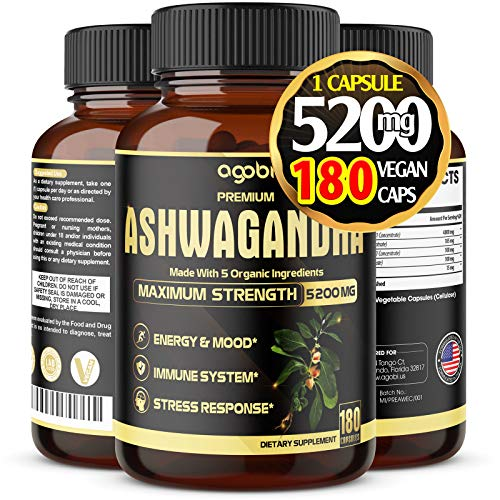 Premium Organic Ashwagandha Capsules 5200mg, Highest Potency with Turmeric, Rhodiola Rosea Root and Others | Adrenal, Thyroid Support, Anxiety, and Stress Relief Supplements - 6 Months Supply.*