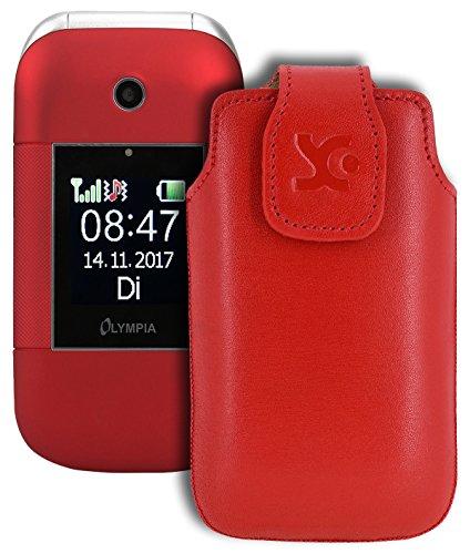 Suncase Original Tasche für Olympia Janus | Hülle Leder Etui Handytasche Ledertasche Schutzhülle Hülle in rot