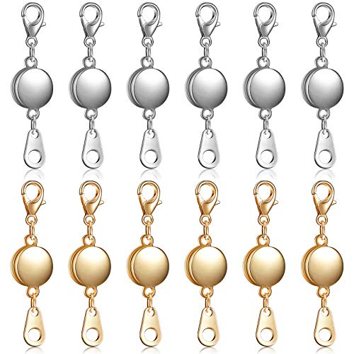 12 Pieces Locking Magnetic Jewelry Clasp Round Necklace Clasp Closures Bracelet Extender for Jewelry Making (Gold, Silver)