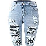 BIBOKAOKE Jeanshosen Damen Sommer Löcher Jeansshorts mit zerrissenen Jeans Hot Pants Bermuda-Shorts Destroyed Hole Denim Kurze Hose Casual Bequem Lochjeans Basic Jeansshorts