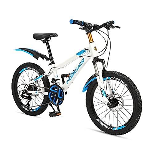 HEZHANG Bicicleta de Montaña, Bicicleta de Transferencia de Velocidad Variable de 20 Pulgadas con 24 Velocidades Variables Y M de Bajo Nivel, para Niños Y Niñas,Azul,20 ''